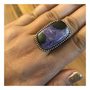 Charoite Purple Ring, 935 Silver Band, Size 7.25